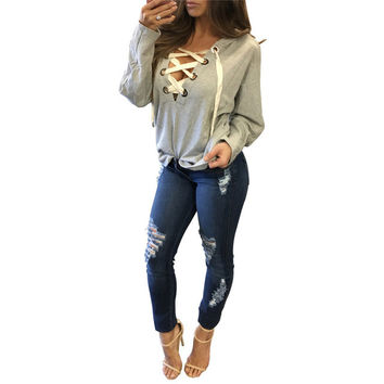 Casual Fashion Lacing Up Pullovers Women Sweatshirt Full Sleeve Deep V-neck Sexy Bandage Loose Hooded Shirt Vintage Women Tops