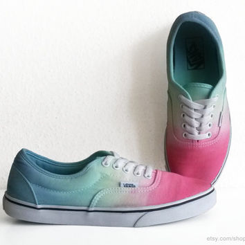 Multi-colour Vans Lpe sneakers, Lo Pro Era, dip dye upcycled vintage skate shoes, pastel colours, size 39 (UK 6, US Wo's 8.5, US Mens 7)