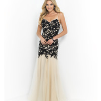 Black & Nude Spaghetti Strap Beaded Lace Bodice Tulle Skirt Gown