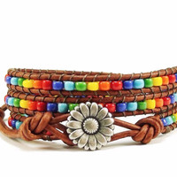 Rainbow Leather Wrap Bracelet, Beaded, Wrap