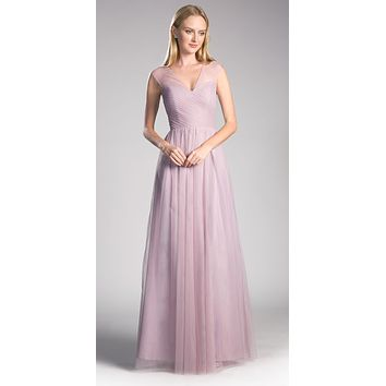 French Lilac Illusion V-Neck and Back Long Formal Dress Sleeveless