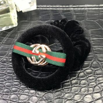 Gucci New Hair Ring Velvet Cloth Round Red And Green Metal Logo Round
