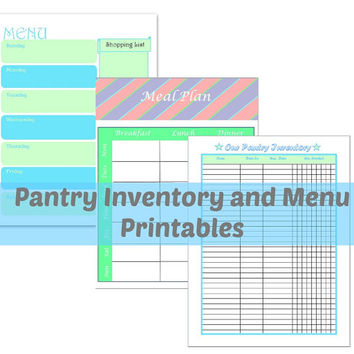 Pantry Inventory and Menu Printables (3 PDF) | pantry printables | set of printables | menu planner | menu plan | weeks meals | meal planner