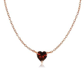 Dainty Garnet Small Heart Choker Necklace in Rose Gold Plated Sterling Silver