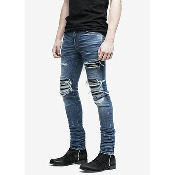 Speed  similar style Amiri MX skinny distressed biker jeans justin bieber men streetwear slim fit destroyed denim pants