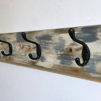 Rustic coat rack, distressed coat hooks, wall coat hanger, towel rack, towel hooks, entryway organizer, wall mount coat rack, wood coat rack