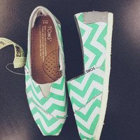 Mint Chevron Toms (Youth)