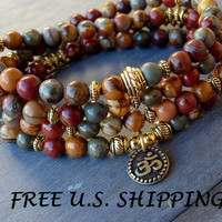 Celebrate Life 108 Picasso Jasper & Om Mala Bracelet or Necklace Reiki charged, Buddhist Rosary, Prayer beads, Gemstone mala, Free shipping
