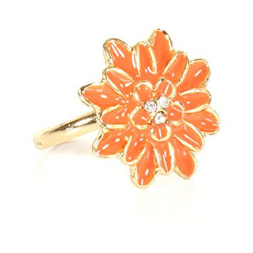 Coral Pink Flower Ring Adjustable Crystal Gold Tone RJ19 Floral Fashion Jewelry