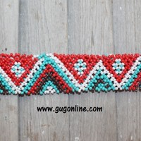 Beaded Headband in Teal, Red, Brown and White Chevron Design