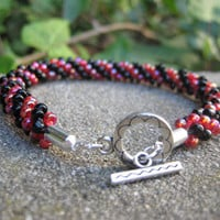 Black and Red Braided Bead Bracelet