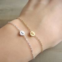 Tiny Skull Bracelet in STERLING SILVER by Beazuness on Etsy