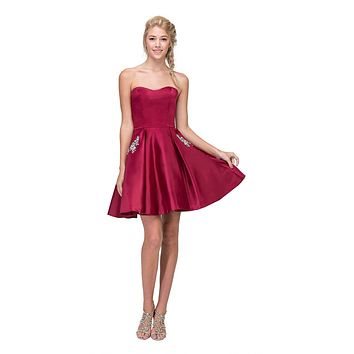 Burgundy Strapless Homecoming Short Dress with Pockets