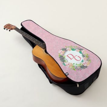 Monogram Floral Pink Girly Cute Guitar Bag