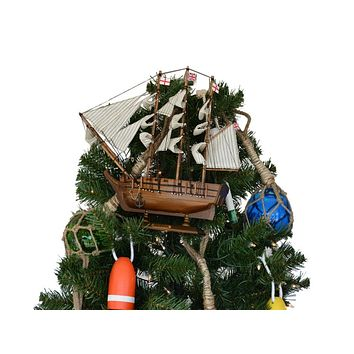 Wooden Charles Darwin's HMS Beagle Model Ship Christmas Tree Topper Decoration