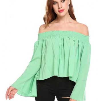 Green Women Off Shoulder Flare Sleeve Solid Loose Fit Blouse Tops