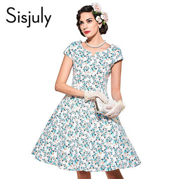Sisjuly vintage dress elegant black rockabilly style 1950s retro summer hot mini party dress 2017 blue floral vintage dress