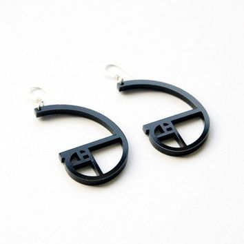 golden ratio spiral acrylic earrings black