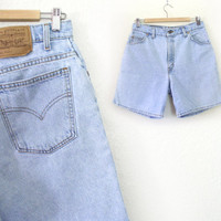 Vintage 1990s Levis 951 High Waisted Denim Jean Shorts - Light Rinse Blue Women's Levis Relaxed Fit Shorts - Size 12 - 30 Waist