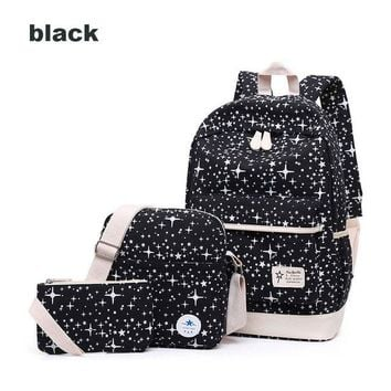 University College Backpack Bags For Women 3Pcs/Set Canvas Travel s  High School bags For Teenage Girls Small Purse Rucksack  WomenAT_63_4