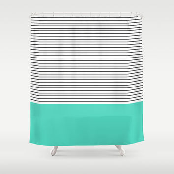 MINIMAL Teal Blue Stripes Shower Curtain by Allyson Johnson