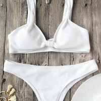 White Rib Textured Bralette Scoop Bikini Set