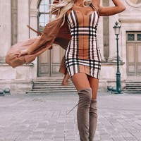 Meryl Taupe Plaid Bodycon Dress