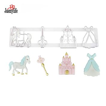 Fairytale Motif Cookie Cutter Princess Dress Key Horse Castle Cupcake Mold Cookie Fondant Mold Cake Decor Cutting Dies Mold Bake