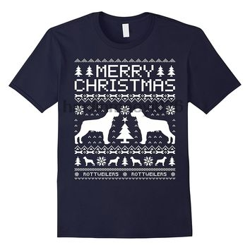 Merry Christmas Rottweilers Dog T-Shirts - Men's Top Tee