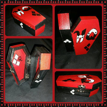 Harley Quinn red & black trinket coffin box with diamond designs handpainted. great for weddings, small jewelry, gift