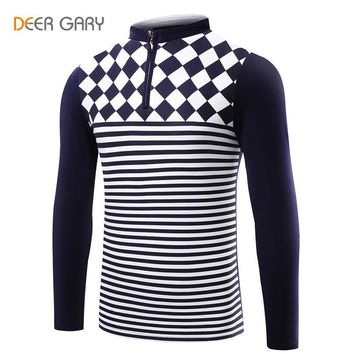 Spring Autumn New Style Stripe design slim Fit Mens Polo Shirt Stand collar long sleev