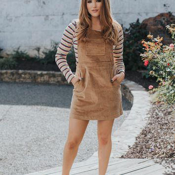 Venice Corduroy Overall Dress, Walnut