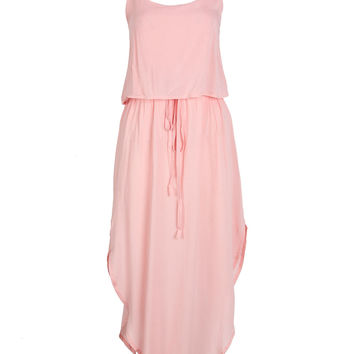 Pink Layered Top Tie Waist Curved Hem Cami Dress