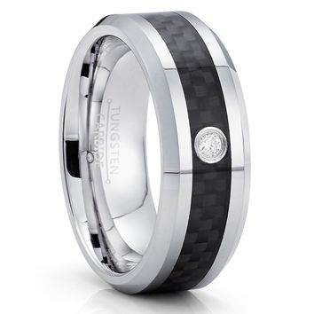 Carbon Fiber Tungsten Ring - White Diamond Ring - 8mm - Tungsten Ring