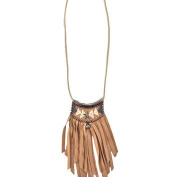 Fiona Paxton Lucite Leather Fringe Necklace in Oxidized