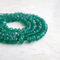 51% OFF Green Onyx Faceted Rondelle Emerald 4mm 55 beads 1/2 Strand