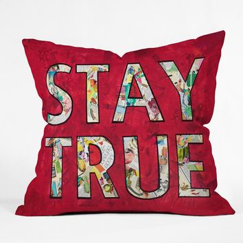 Stay True collage throw pillow