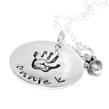 Hand Print Personalized Necklace - Hand Stamped Jewelry - Mommy Necklace - Baby Name Necklace