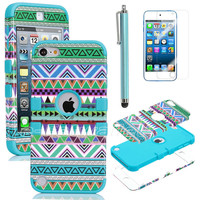 Stylus + For iPod Touch 5 5G Hybrid High Impact Case Tribal Green /Blue Silicone