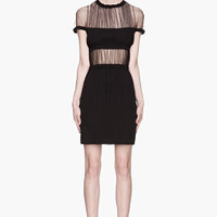 Christopher Kane Black Mesh Shawl Top Gathered Silk Dress for women | SSENSE