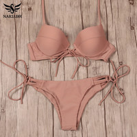 NAKIAEOI New Sexy Bikinis Women Swimsuit Push Up Swimwear Bandage Cut Out Bikini Set Halter Beach Bathing Suits Swim Wear