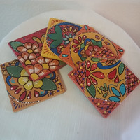 Wood coasters, hand painted coasters, floral coasters, pine wood coasters, coffee table coasters, talavera inspired, floral pattern