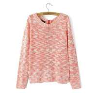 Pink Zipper-Back Knitted Sweater