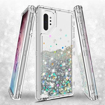Samsung Galaxy Note 10 Case,Hard Clear Glitter Sparkle Flowing Liquid Heavy Duty Shockproof Three Layer Protective Bling Girls Women Cases for Samsung Galaxy Note 10 - Clear