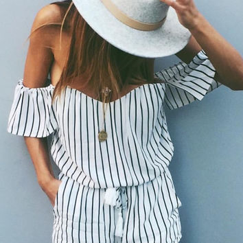 New York Babe Striped Romper