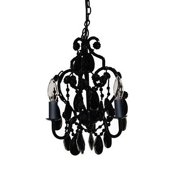 Three Light Bulb Faux Crystal Chandelier in Black Onyx