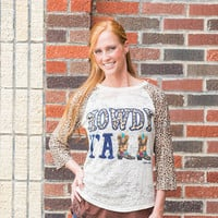 Howdy Y'all with Leopard Sleeves Raglan