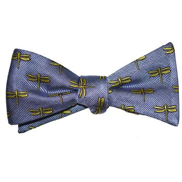 Dragonfly Bow Tie - Yellow on Gray, Woven Silk