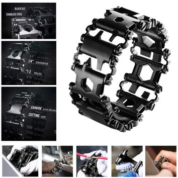 *Punk Style Stainless Steel Outdoor 29 Kinds of Multi-functional Tool Bracelet. Portable Multi Tools for Camping Hiking