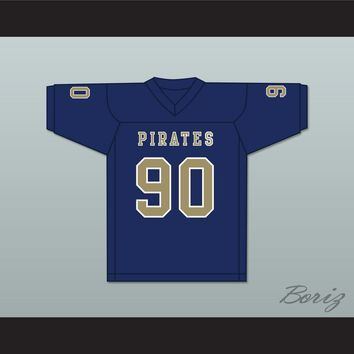 Dantrell Barkley 90 Independence Community College Pirates Dark Blue Football Jersey